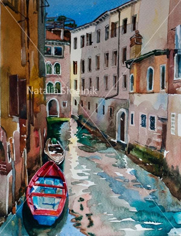 Красная лодка в районе Каннареджо, Венеция