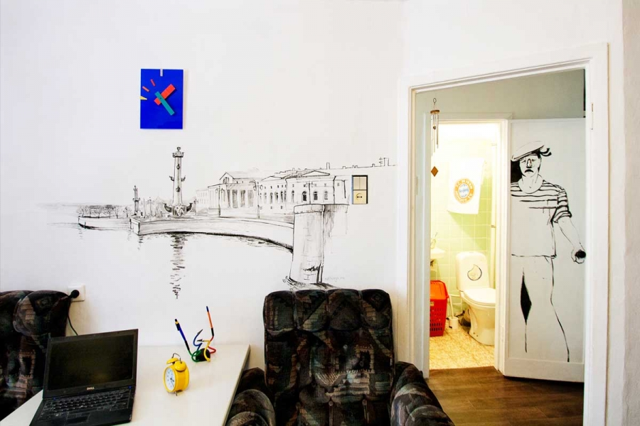 Wall murals in old rooms in St. Petersburg