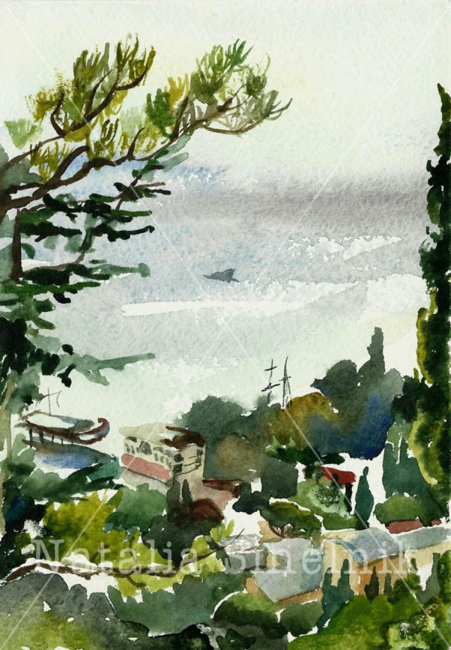 Вид на Ялту с холма Дарсан